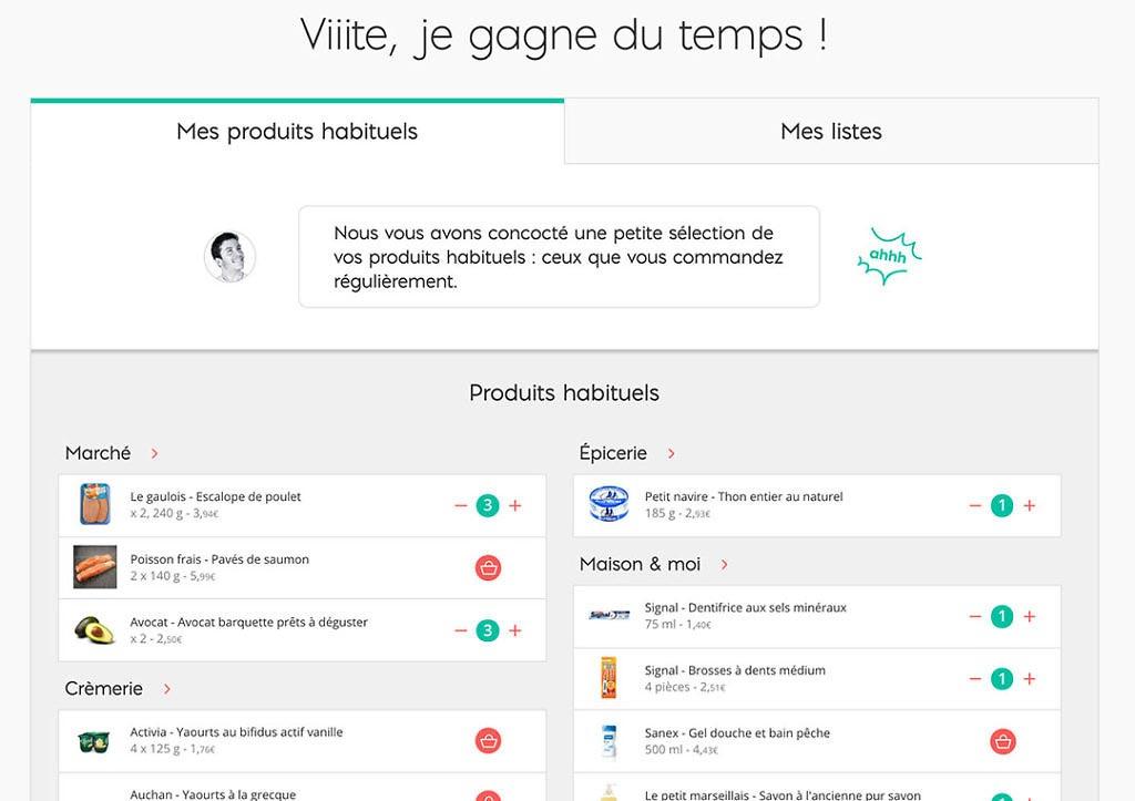 auchan vite gagner temps produits habituels liste course
